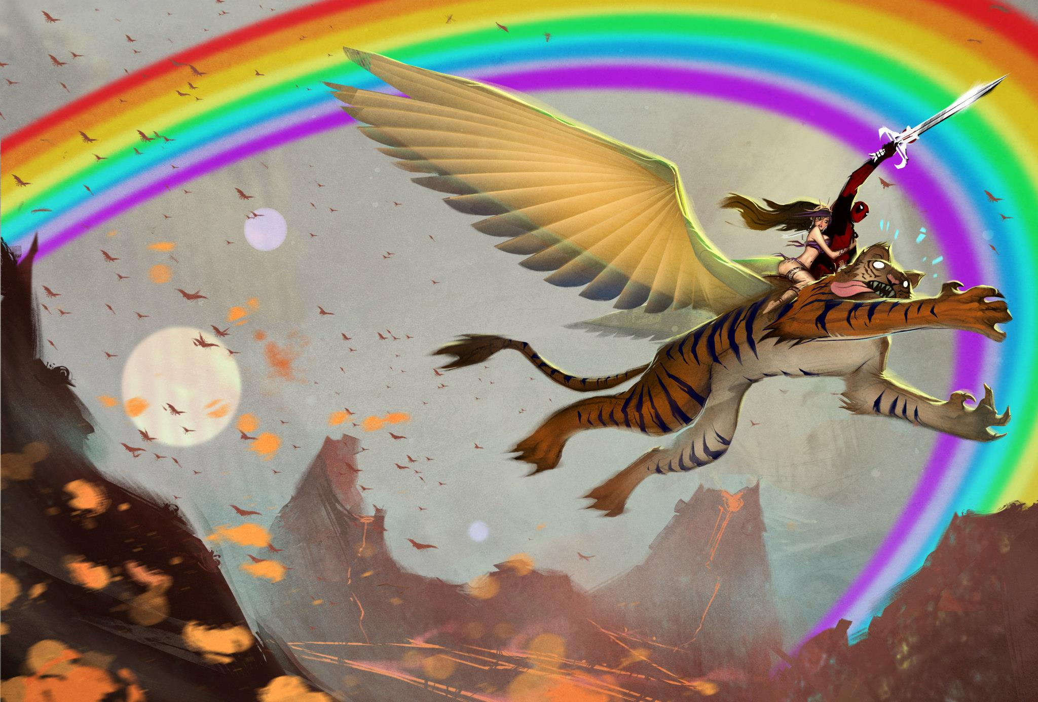 deadpool rainbow regenbogen tiger art