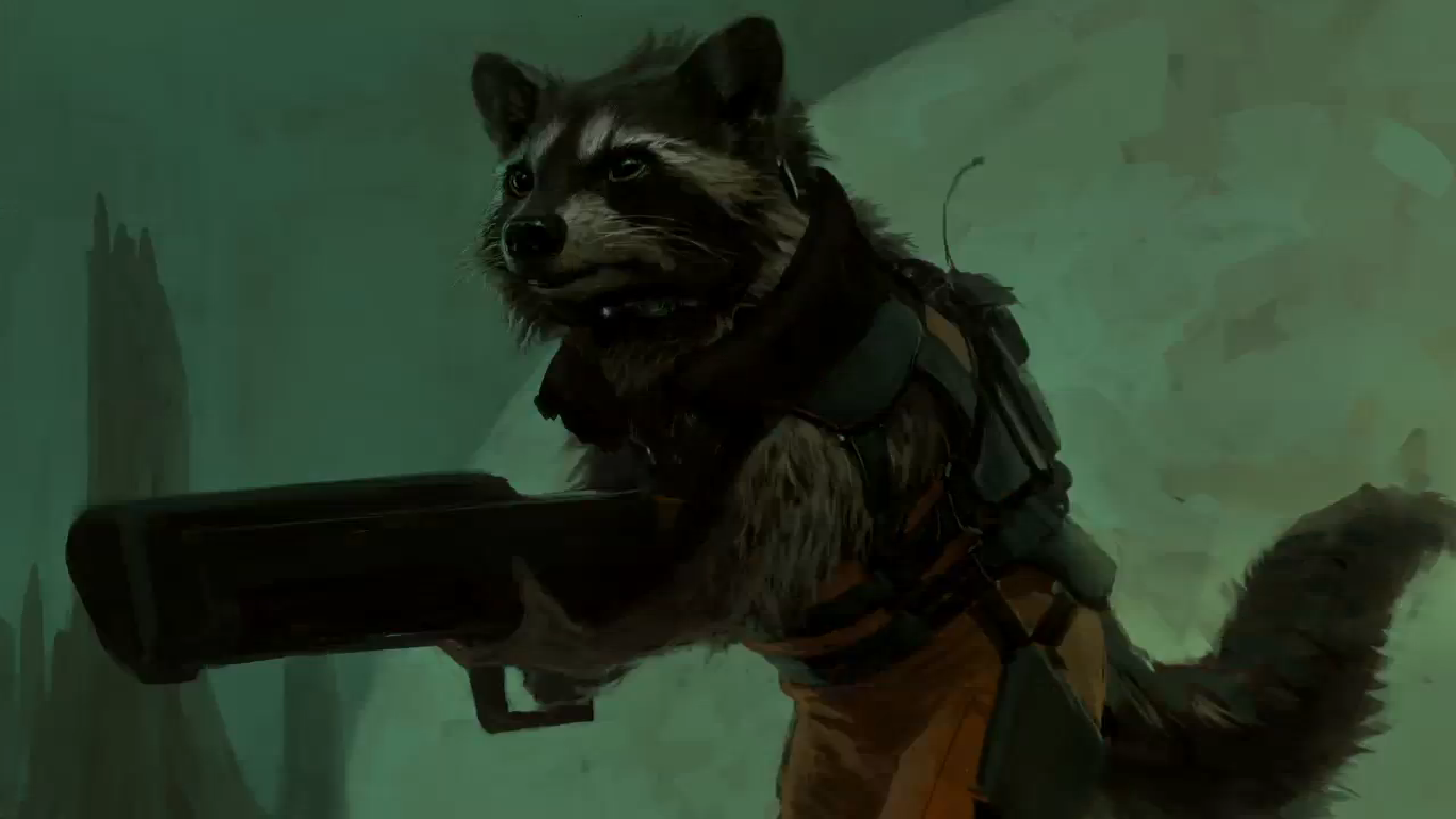 rocket raccoon concept art marvel guardians of the galaxy movie comic waschbär