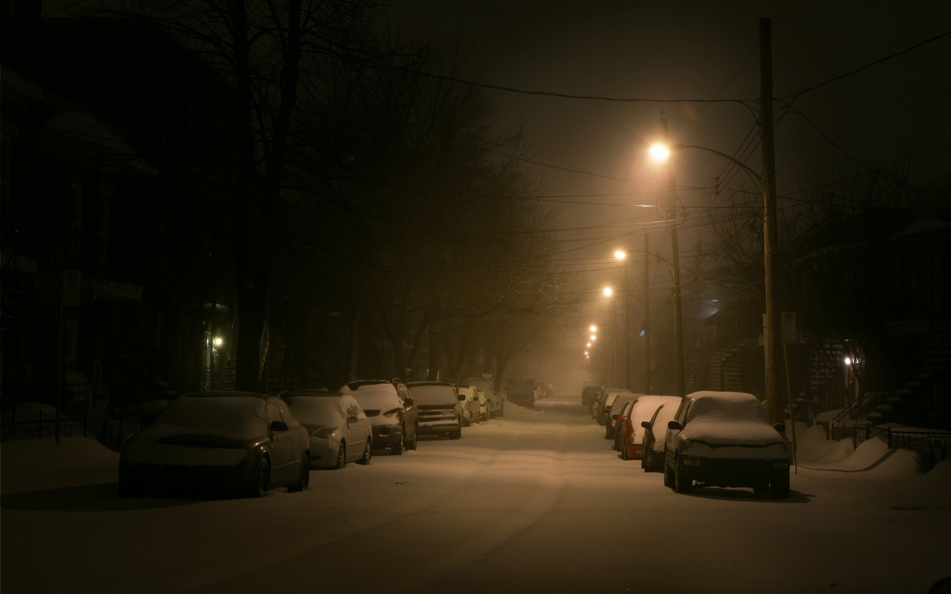 Snow Winter Cars Night Wallpaper Hd Street Montreal