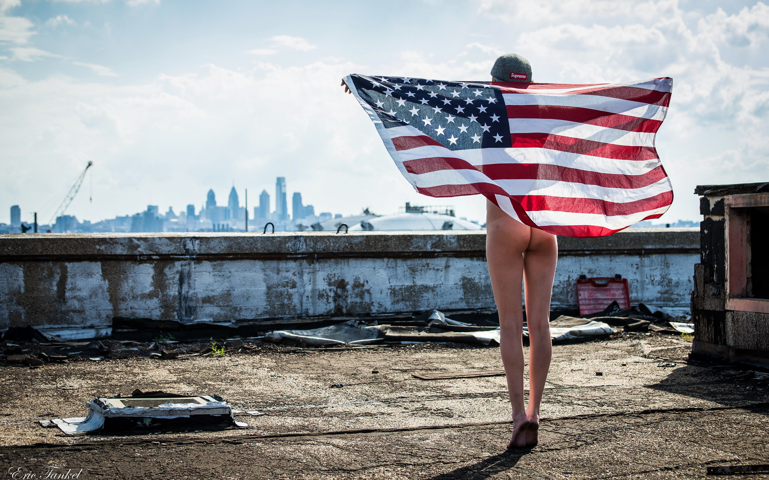 Good Girl naked with american flag with